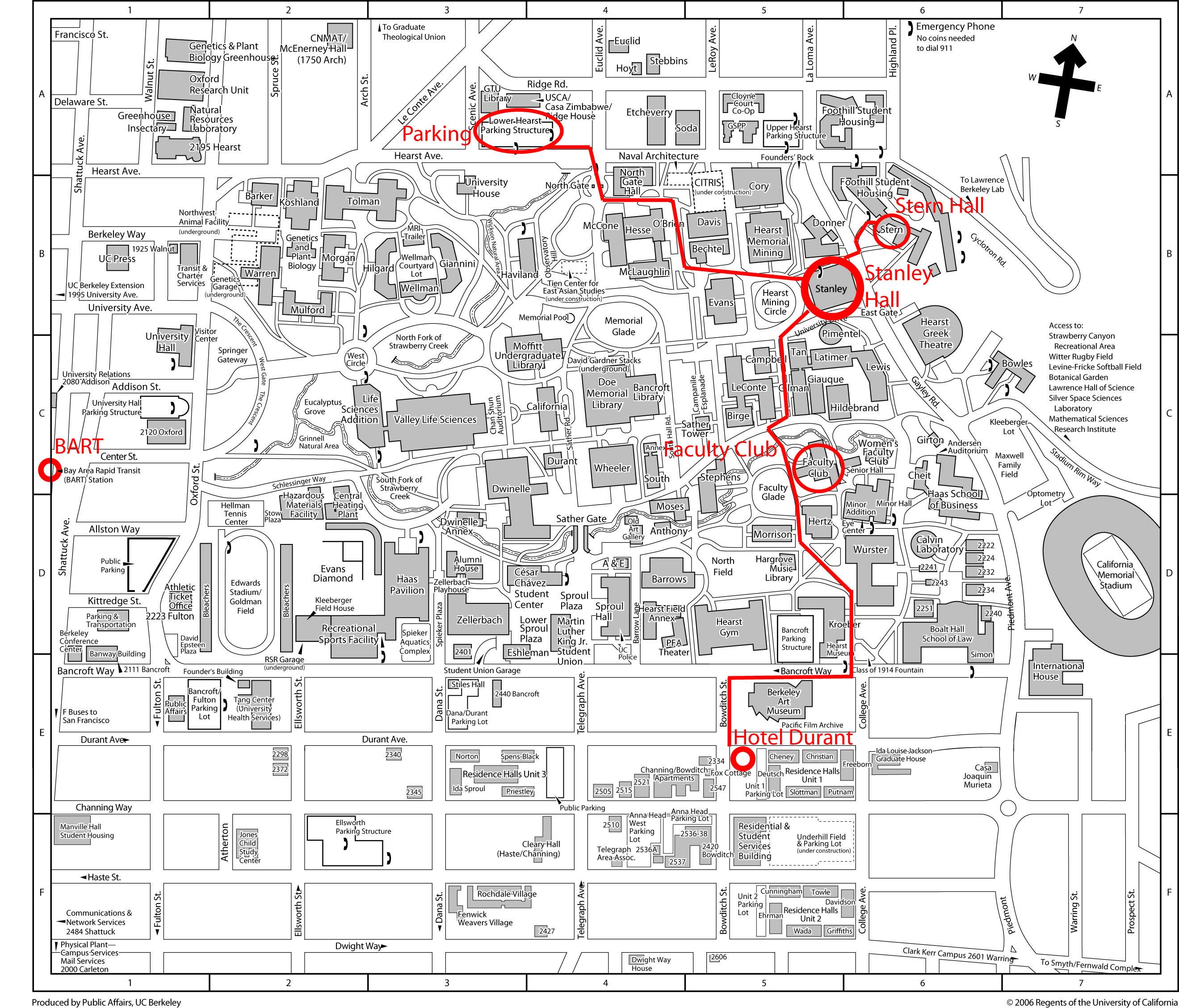 map of berkeley campus Ishhc Xiii July 16 20 2007 Directions map of berkeley campus