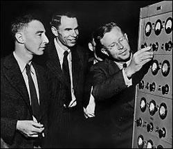 Ernest Lawrence, Glen T. Seaborg, and J. Robert Oppenheimer in early  1946