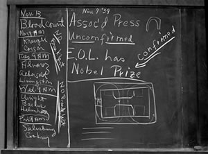 The Lab blackboard announced Lawrence's Nobel Prize