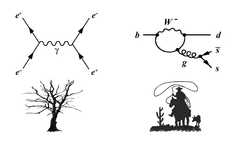 march of the penguins   berkeley labfeynman diagrams   be classified as tree level  left   in which particle interactions are connected simply like branches  or as loop diagrams  right