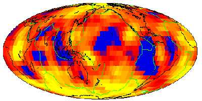 Plot of seismic waves traveling through the Earth's liquid core