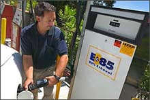 Lab Fleet Manager Don Prestella uses the onsite ethanol pump